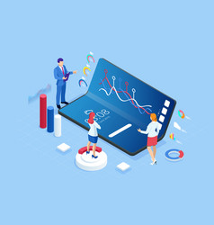 isometric business and finance analysts analyzing vector image