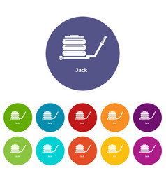jack icons set color vector image