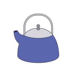 kettle jar utensil colorful silhouette vector image
