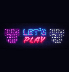 Lets play neon text design template gaming vector
