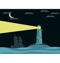 Lighthouse and ship in the sea at night vector image