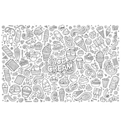 Line art cartoon set of ice-cream objects vector