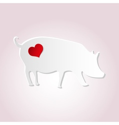 Love pig from paper simple silhouette icon eps10 vector