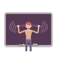 Man against the blackboard with drawn barbell vector image