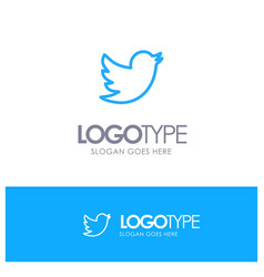 Network social twitter blue outline logo with vector