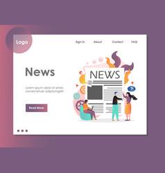 News website landing page design template vector