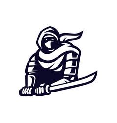 Ninja logo design black and white version modern vector