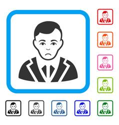 Noble gentleman framed sad icon vector