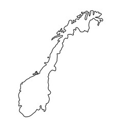 Norway map of black contour curves of vector