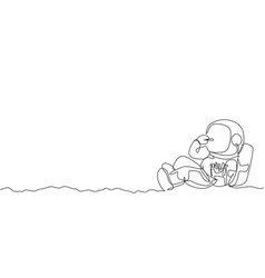 One continuous line drawing cosmonaut laying vector