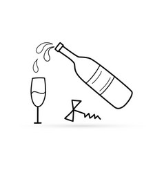 Outlone corkscrew with bottle wine and glass vector