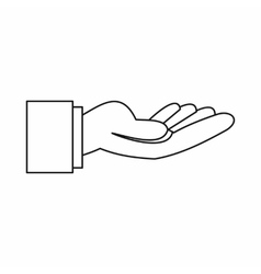 Outstretched hand gesture icon outline style vector image