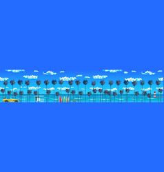 Palm trees beach and the blue sky with clouds vector