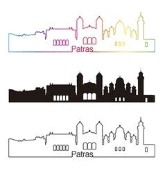 Patras skyline linear style with rainbow vector image