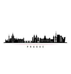 prague skyline horizontal banner black and white vector image