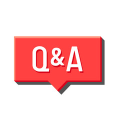 Q and a red speech bubble media icon question vector