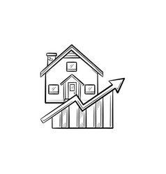 real estate market growth hand drawn outline vector image