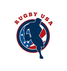 Rugby player flag united states of america vector