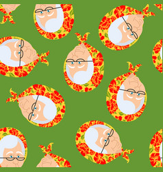 russian grandmother pattern old woman face in vector image