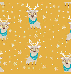 Seamless pattern with cute deer in scarf can be vector