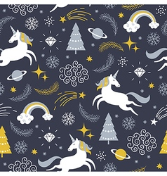 Seamless pattern with unicorns christmas theme vector