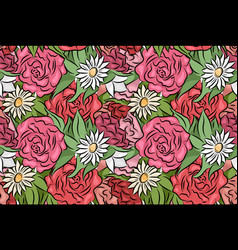 seamless texture with hand drawn flowers and vector image