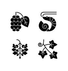 Seasonal allergen causes black glyph icons set vector