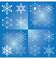 set of beautiful snowflakes vector image