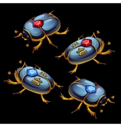 Set of Egyptian beetles with ruby and sapphire vector