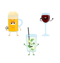 set of funny characters from strong drinks vector image