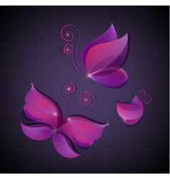 Set of shiny butterflies icons vector