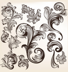 set of swirls in vintage style for design vector image
