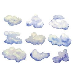 Set of watercolor clouds isolated on white vector