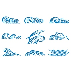 set of waves vector image
