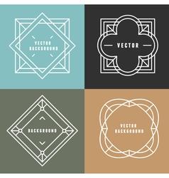 set outline emblems and badges vector image