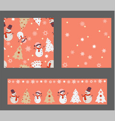 set with 3 seamless patterns vector image