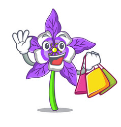 Shopping columbine flower character cartoon vector