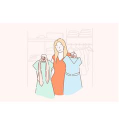 shopping fashion dress clothes concept vector image