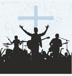 Silhouette worship group god vector