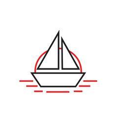 simple boat in sea line art logo vector image