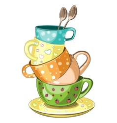Stacked tea cups vector