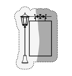 sticker silhouette lamp post with poster vector image