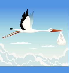 stork delivering baby vector image