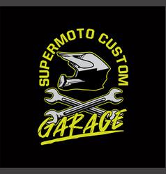 supermmoto custom garage t shirt design poster vector image