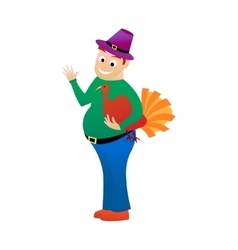 Thick happy man holds in one hand turkey is a vector