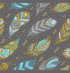 Tribal feathers pattern in grey gold and blue vector