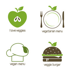 Vegan and vegetarian food icons vector