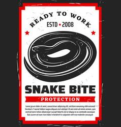Venomous snake bites protection measures vector