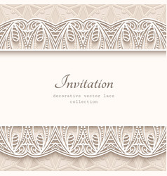 Vintage background with lace borders vector