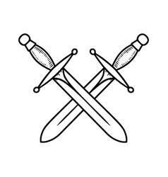 vintage crossed swords in engraving style vector image